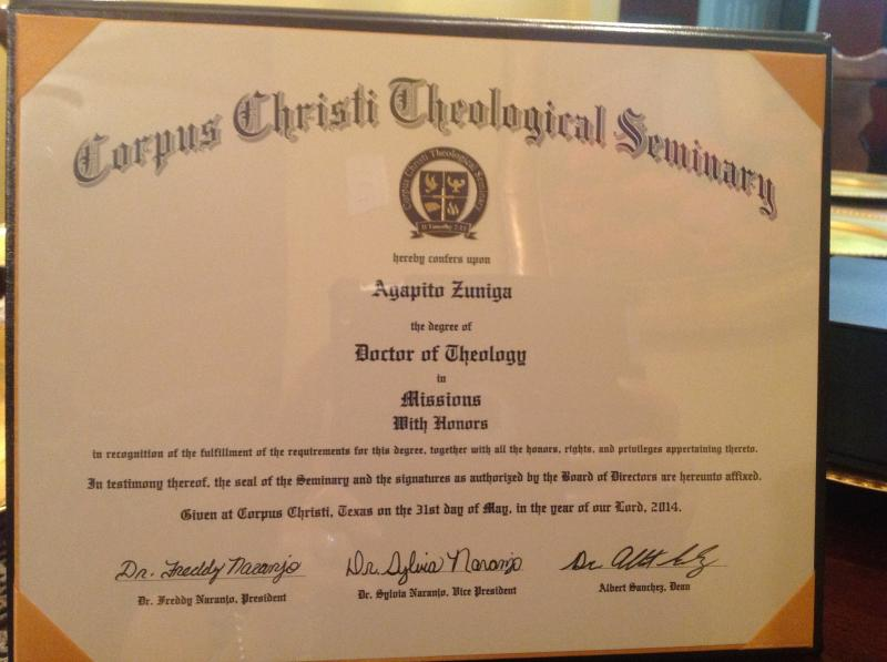Agapito Honored with Doctorate of Theology