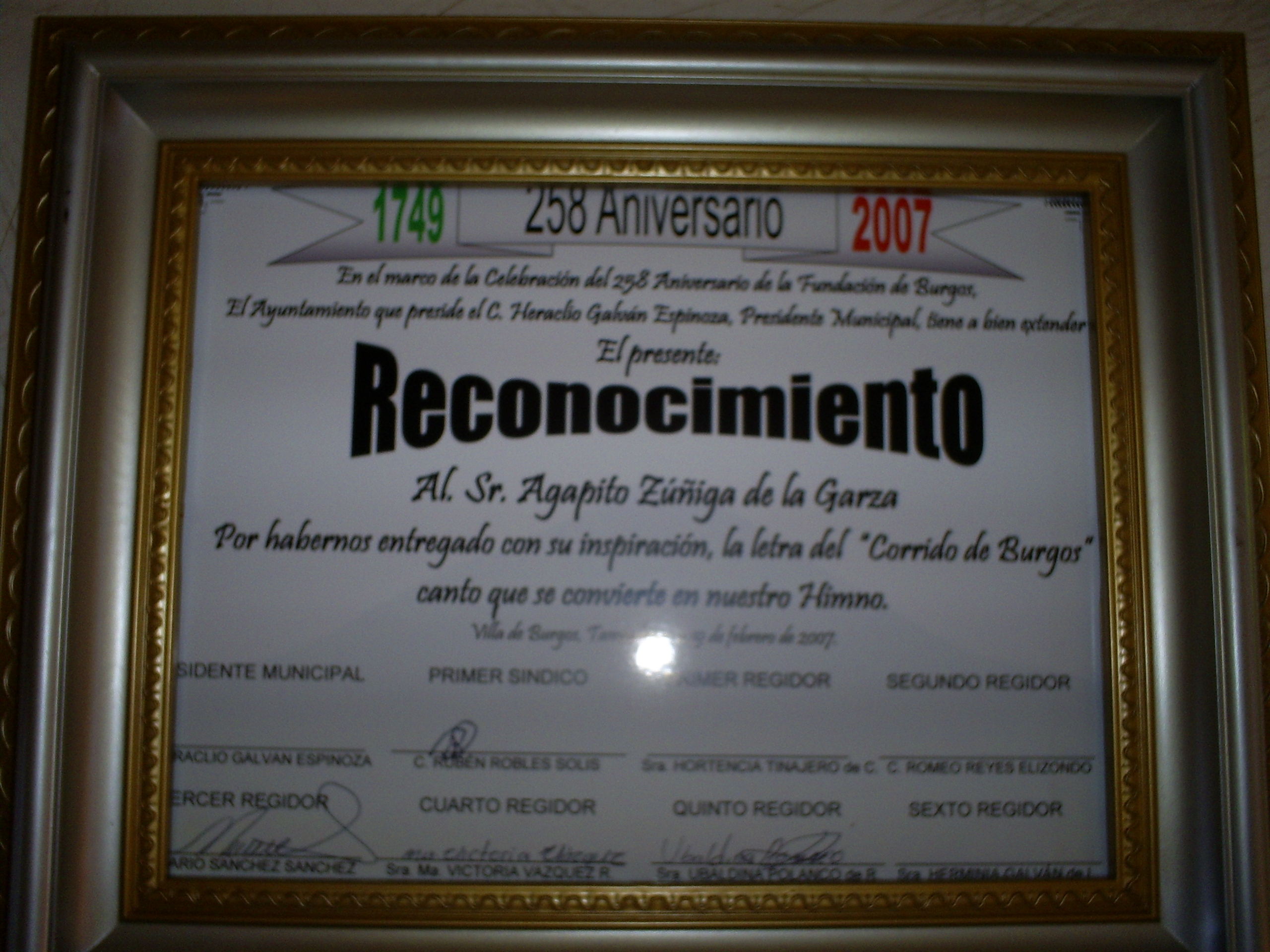 Recognition of Agapito Zuniga in Burgos